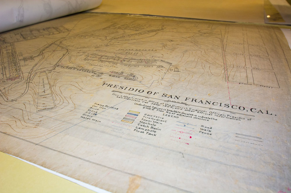 Hand drawn map of the Presidio from 1909