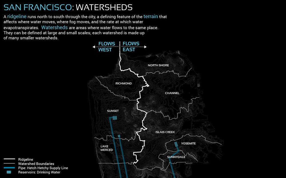 Figure 5. San Francisco's watersheds are formed by the city's terrain, moving water from high to low points in the landscape