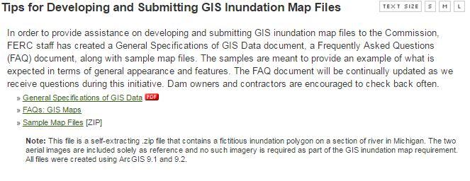 Figure 4. FERC GIS help page