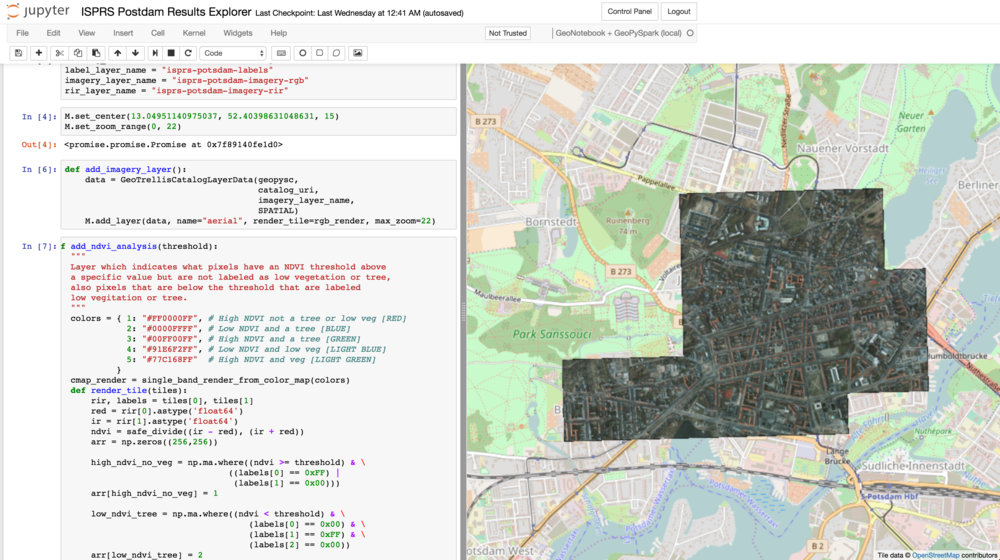 GeoNotebook that shows the Potsdam imagery and a portion of the   add_dvi_analysis() method code