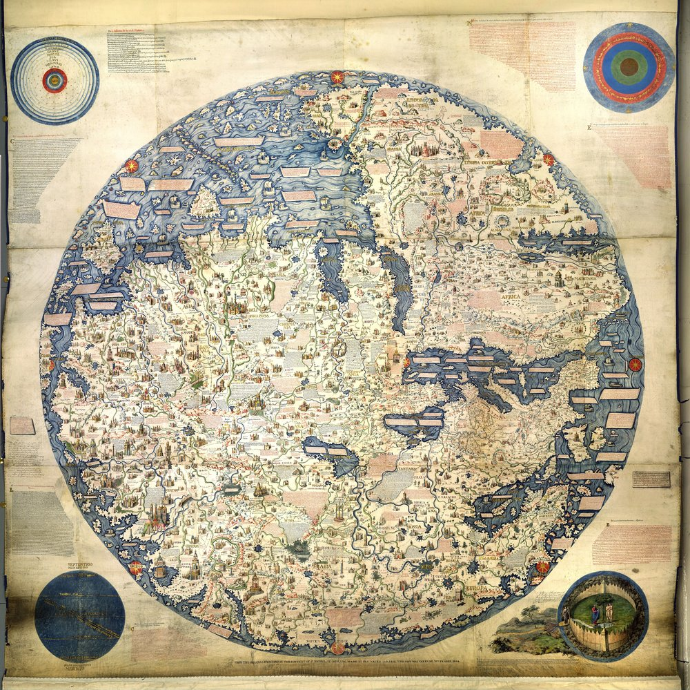 Fra Mauro's world map. Photo credit: Public Domain https://upload.wikimedia.org/wikipedia/commons/9/95/Fra_Mauro_World_Map%2C_c.1450.jpg