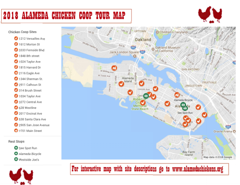 Amateur maps in action: The annual Alameda Chicken Coop Tour provided an interactive map and a PDF to help visitors navigate the local hen houses. Here's a snapshot of the PDF.