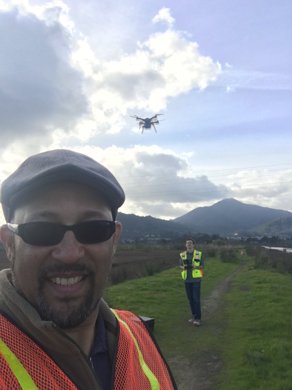 Figure 5. Tony Hale and Pete Kauhanen of the San Francisco Estuary Institute, flying the 3DR Solo unmanned aerial vehicle in the Corte Madera Marsh, February 21, 2018