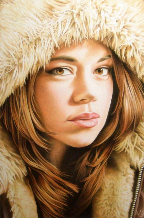 "Sara Anne with Her Hoodie , mixed media, 24"" x 16""  by Mary Jones Easley"