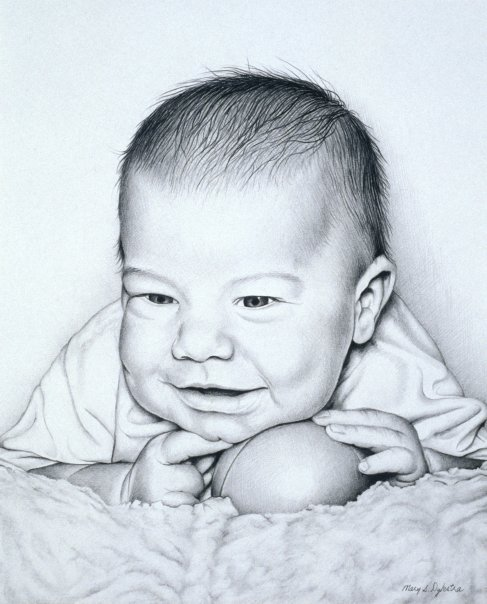 "Baby Boy with Ball , graphite, 11"" x 8""  by Mary Jones Easley"
