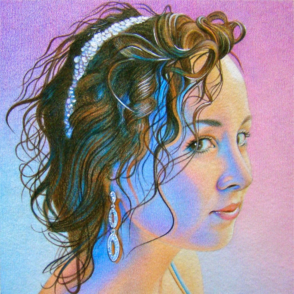 "Nightlife Nikki , colored pencil, 6"" x 6""  by Mary Jones Easley"