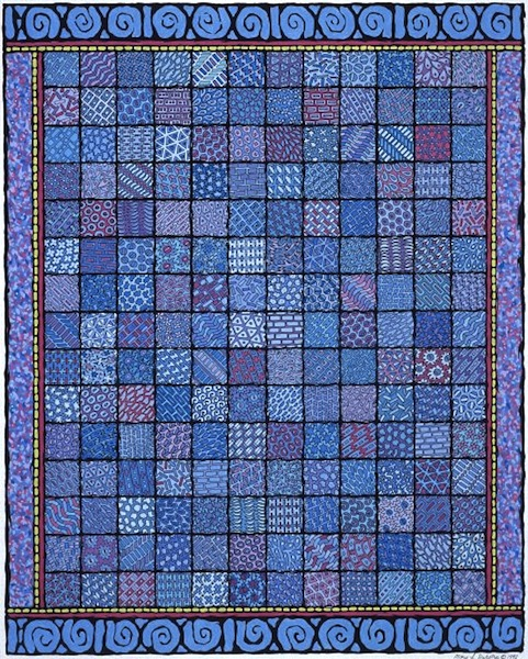 "Patchwork Quilt #1 , mixed media, 18"" x 12""  by Mary Jones Easley"