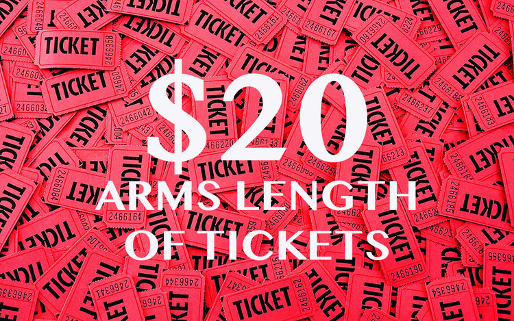 raffle tickets arms length 20 our fabulous variety show
