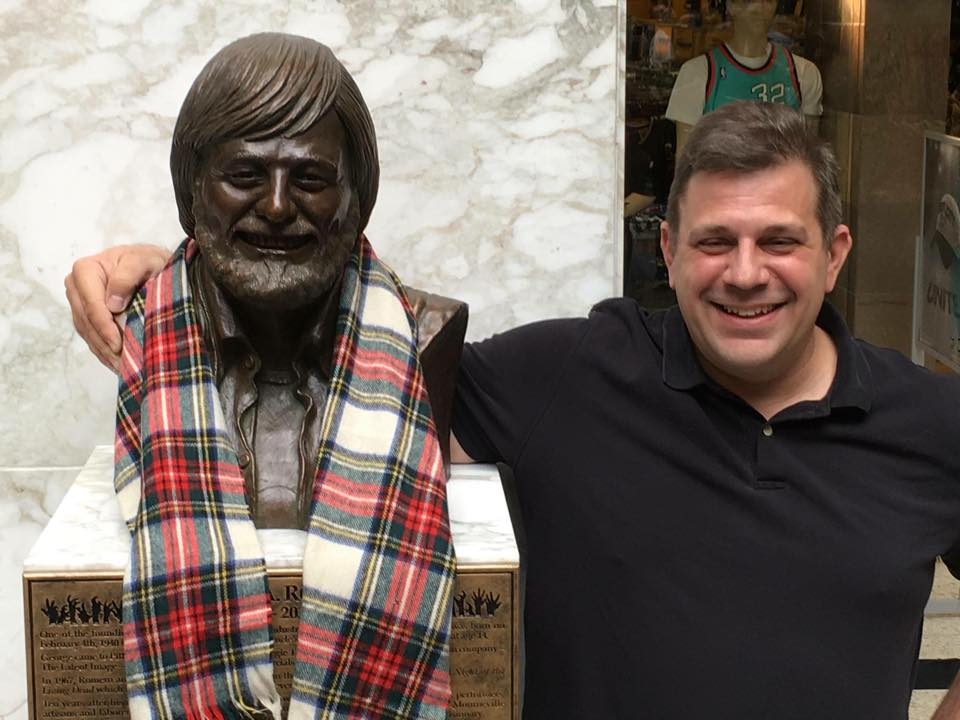 Christian Stavrakis with the finished bust in the Monroeville Mall in Pittsburgh, PA.