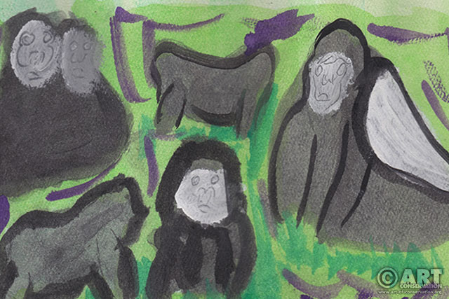 Gorilla Family, by one of the Art of Conservation kids.