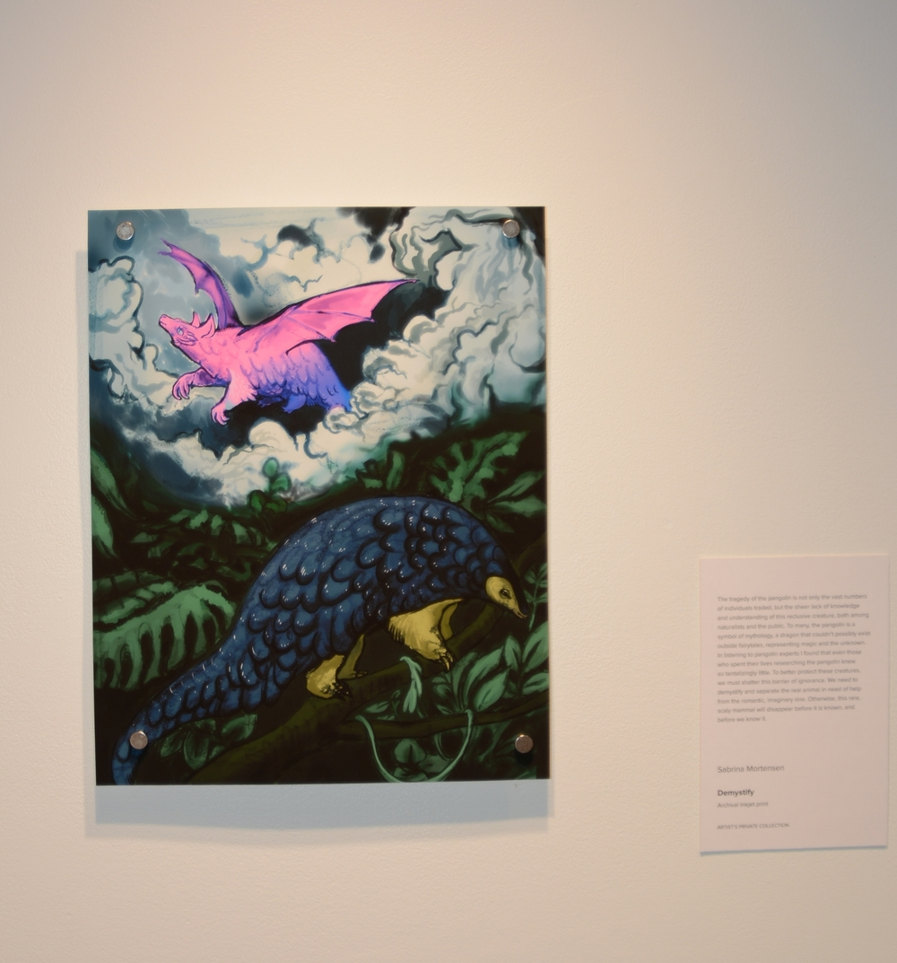 Sabrina Mortensen Demystify – 2016 Illustration: Digital, Archival inkjet print, 7 x 9 in. We need to demystify and separate the real animal (the pangolin) that is in need of our help, from the romantic imaginary one. Otherwise, this rare scaly mammal will disappear before it is known, and before we know it.