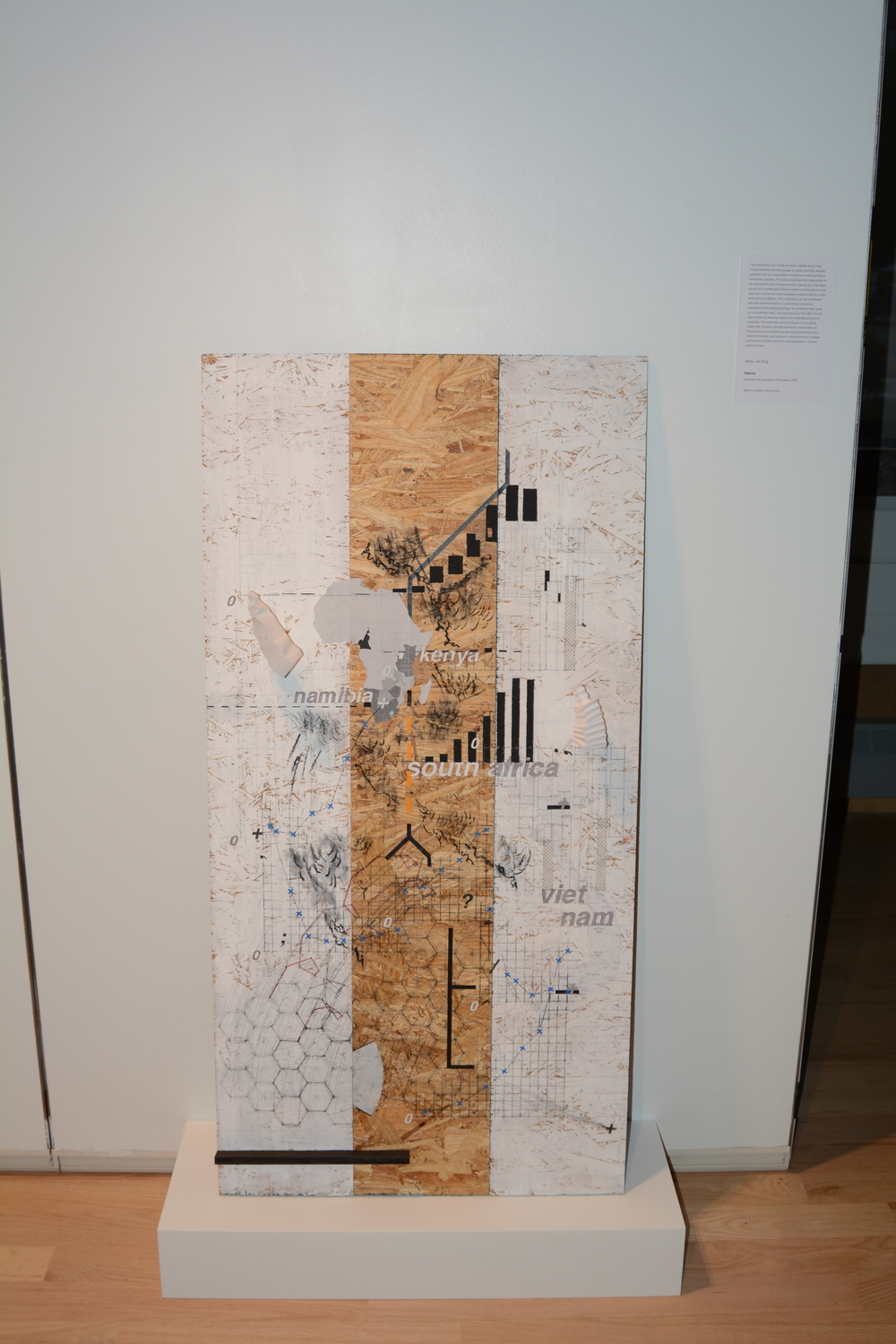 Shou Jie Eng Horns Collage: Graphite, ink, gouache, PLA, paper, OSB, 48 x 14 x 48 in. The rhinoceros horn trade receives rightful focus from conservationists for the danger it poses (and has already posed) to the survival of both the African white and black rhinoceros species. The piece explores the irrationality of the demand for rhinoceros horn, seeing as it has been struck from traditional Chinese medicine manuals and has also been proven to have negligible medical effects under laboratory conditions.