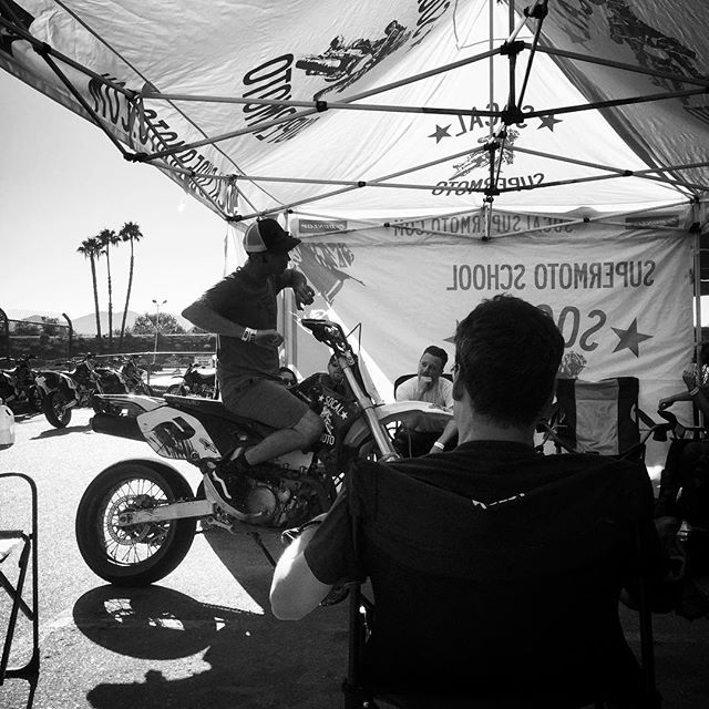 """""""Do this, go braap, have fun."""" Brian laying down the knowledge on this supermoto Sunday. #socalsupermoto, #alpinestars, #onegoalonevision, #braap"""