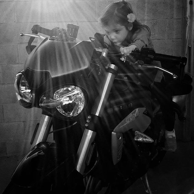 She's clearly up for the 1050R, but thinking maybe a mini-bike and some schooling first... Can't believe her feet reach the pegs. ✊👍😎 #GoodTimes, #GoodStuff, #LoveThisKid, #Braap