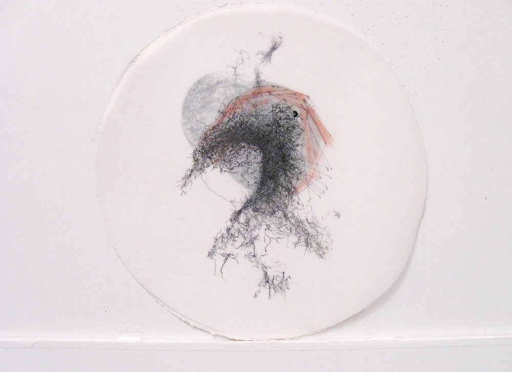 """In the Scale of Things 10   ink, collage, on vellum 12""""diameter 2010-2011"""