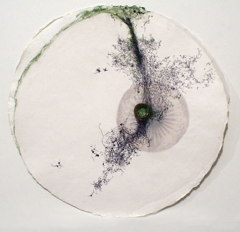 "10209 (Ménerbes)   mixed media on paper  16.5"" diameter  2009"