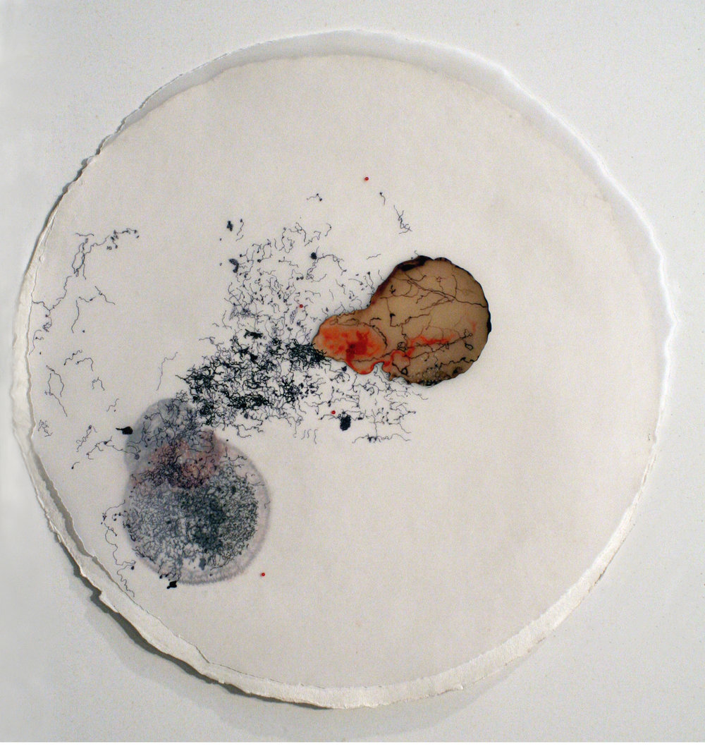 "92909 (Ménerbes)   mixed media on paper  16.5"" diameter  2009"