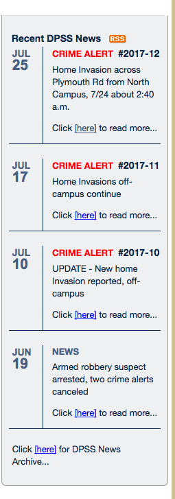 Example of poor text link from the University of Michigan Division of Public Safety & Security Web Page.