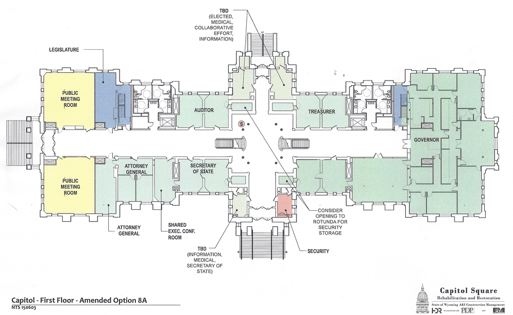 Preliminary design plans for the first floor of the Capitol as of June 2, 2015