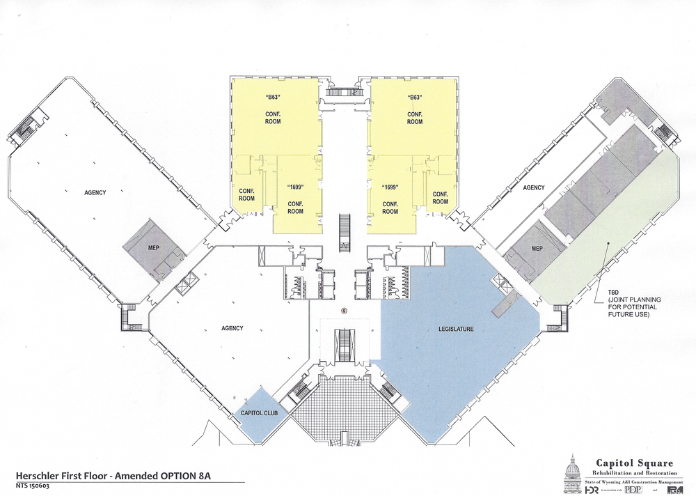 Preliminary design plans for the first floor of the Herschler Building as of June 2, 2015