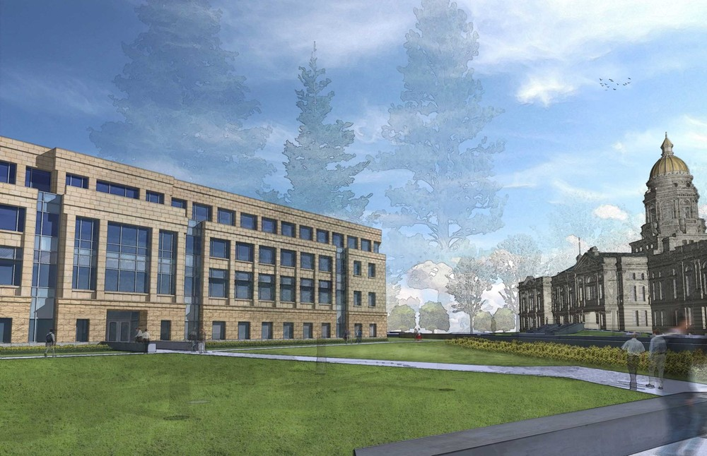 Preliminary design of the Herschler Building while expanding towards the south will complement the Capitol architecture while blending into the overall landscape.