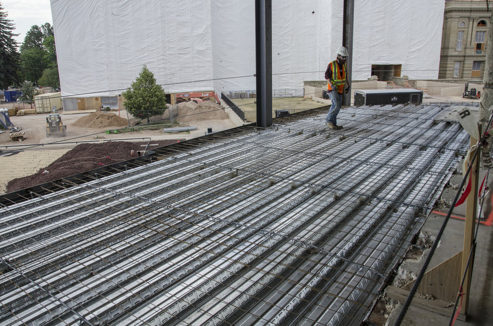 Rebar has been put on the slabs on the 2, 3, and 4 floors of the Herschler in preparation for the concrete pour. These slabs on floors 2, 3, and 4 will add nearly 20,000 square feet of usable space to the Herschler Building.