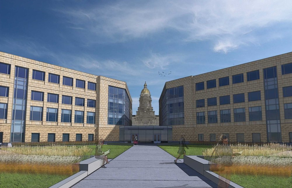 A design sketch showing how the removal of the Herschler Building's atrium restores the views to the Capitol.