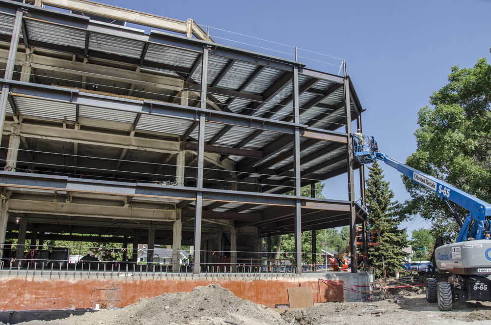 A new steel structure has enlarged the footprint of the Herschler Building by 15 feet on the south side of the building.