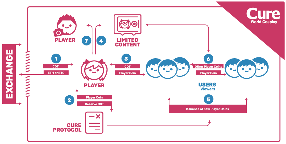 Taken from worldcosplay.net. 1) Player purchases COT from an exchange. 2) Player creates their own Player Coin. 3) Users and fans buy the Player Coin using COT directly from the Player. 4) The Player sets the thresholds required for exclusive content and rewards. 5) Users may issue new Player Coin directly from the platform. 6) Users may exchange different Player Coins with each other. 7) Additional collaborative efforts may be distributed.