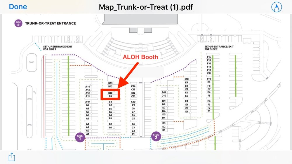 ALOH Booth Location Map - see spaces B-9 and B-10