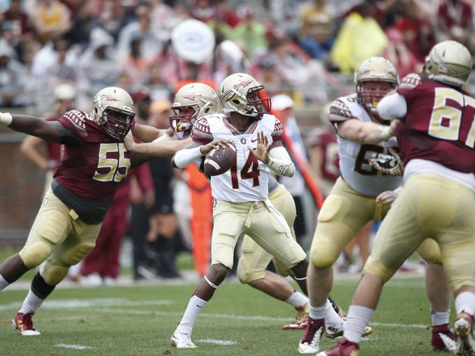 De'Andre Johnson looking to earn his spot on the team in the FSU inter squad scrimmage.