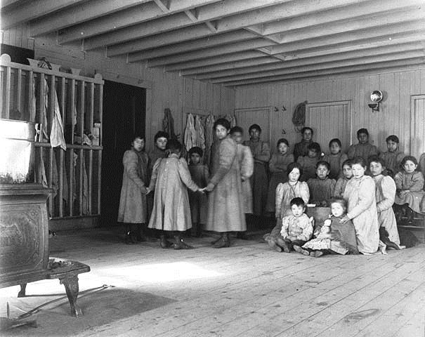 A Native American Boarding school, where 30,000 Native children were placed and punished between 1880 and 1902, taught the white man's culture and had their own culture all but erased.
