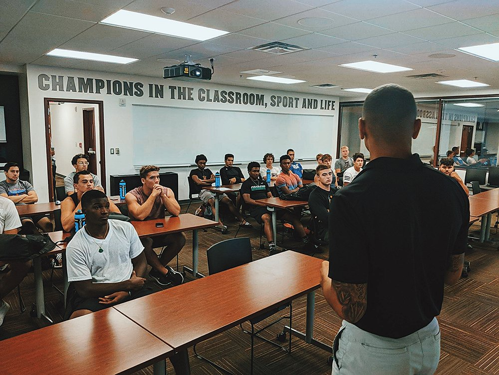 Jarrod Barnes delivering a workshop to Arizona State Football & Track student-athletes