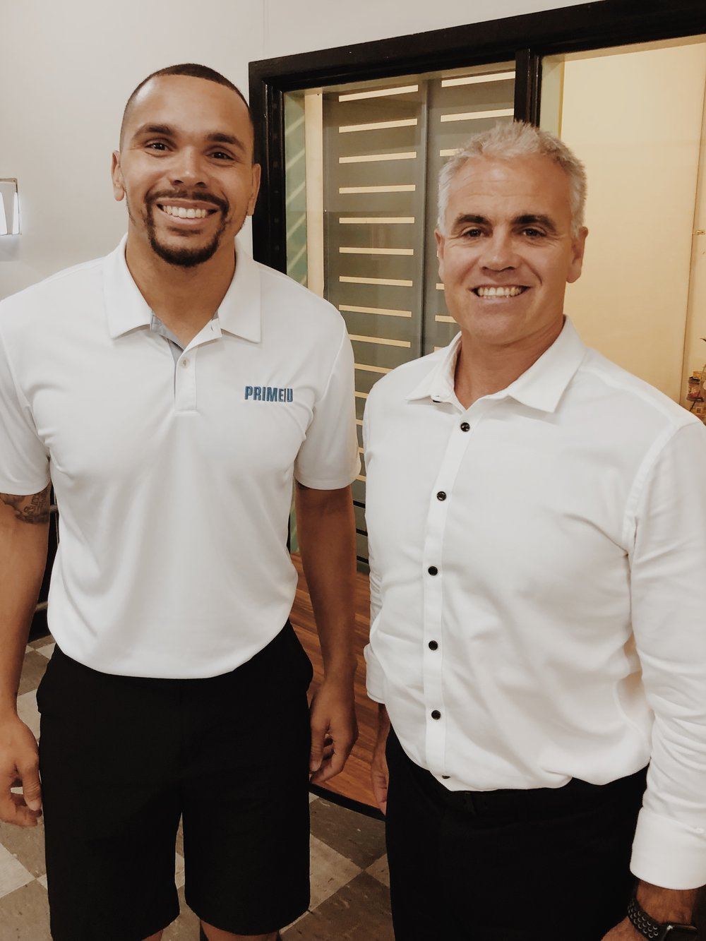Pictured: Jarrod Barnes, Founder & CEO of Prime U along with Tony McFayden, Player Wellbeing & Education Manager of the NRL.