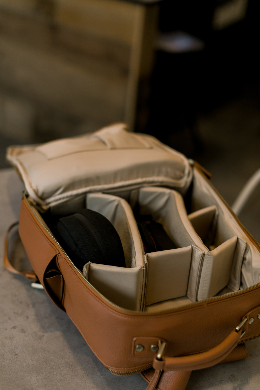 Kamrette Leather Backpack, Photography gear, Professional Wedding Photographer Memphis, Lititz PA, Slate Coffee Shop