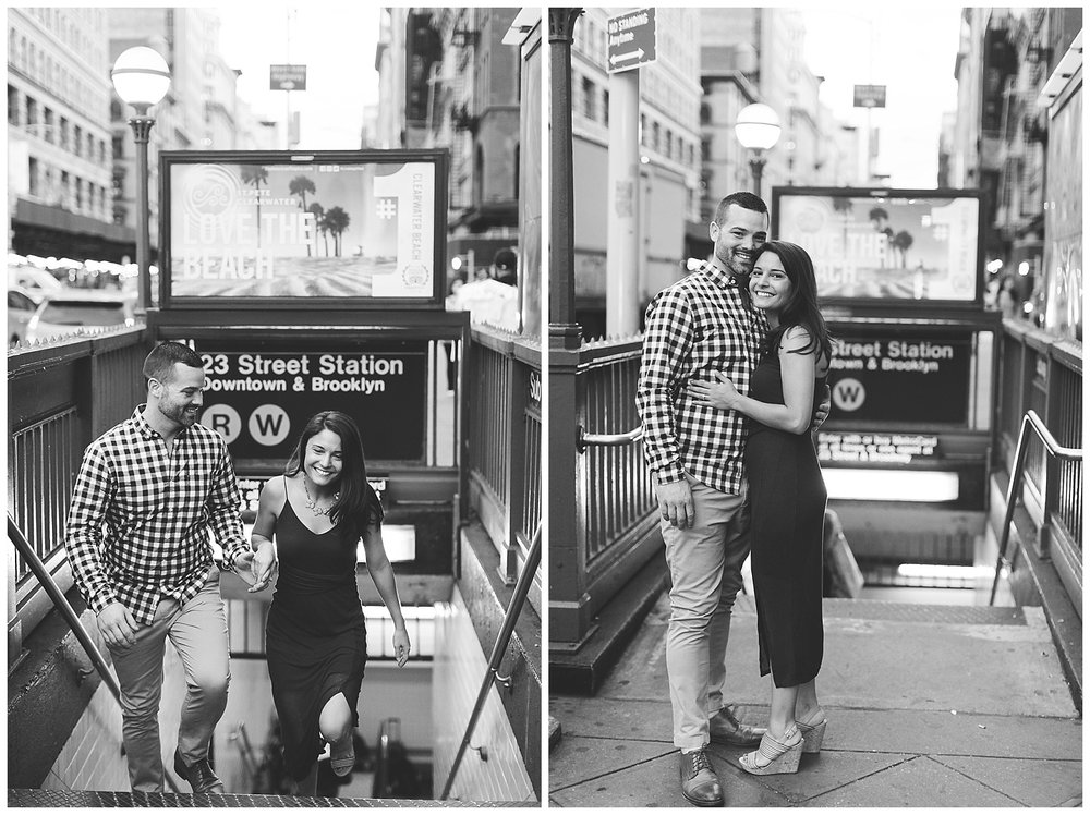 Christina & Justin New York City Engagement Session at the Flat Iron building shot by Mary Kate Steele Photography