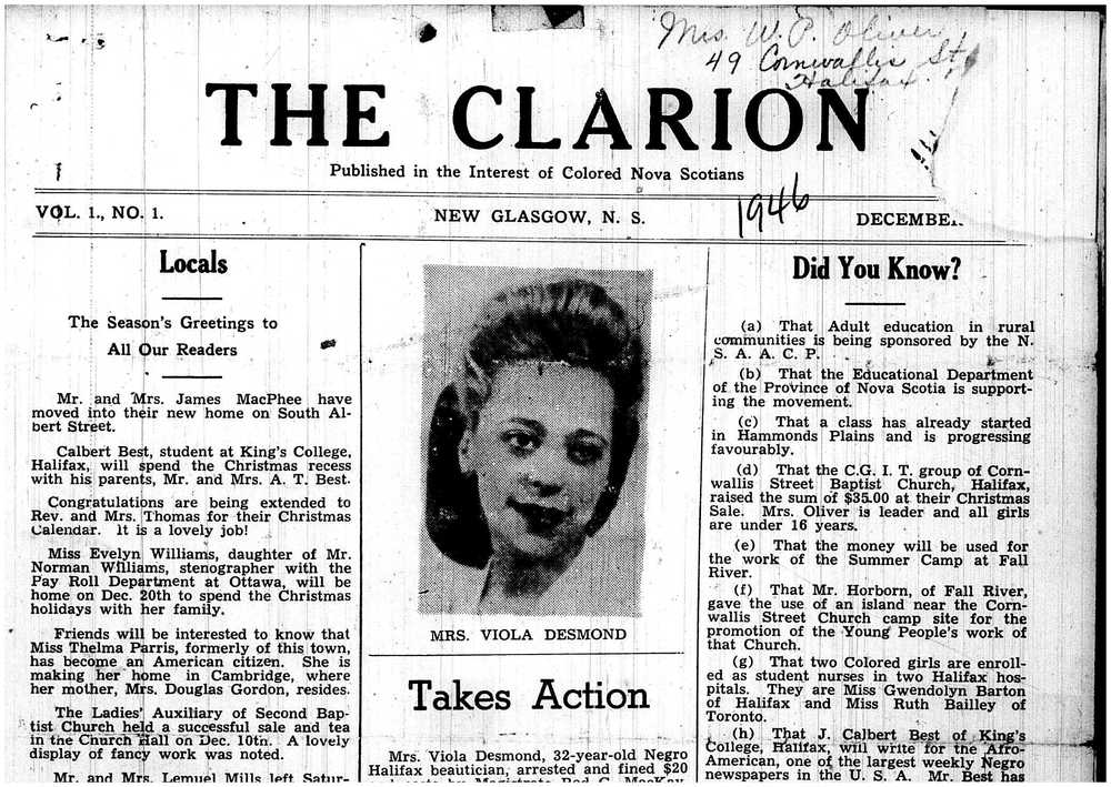 The Clarion' s cover story of Viola Desmond.