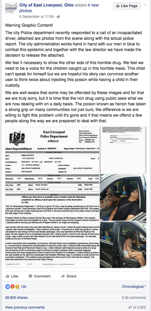 "Screenshot of ""Warning Graphic Content!"", City of East  Liverpool, Ohio Facebook page, September 15, 2016.  https://www.facebook.com/cityofeastliverpool/posts/879927698809767"