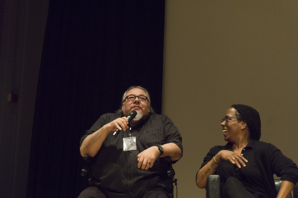 Jeff Thomas and Deanna Bowen participating in the Artist Panel at the ROM (M. Kasumovic, 2017)