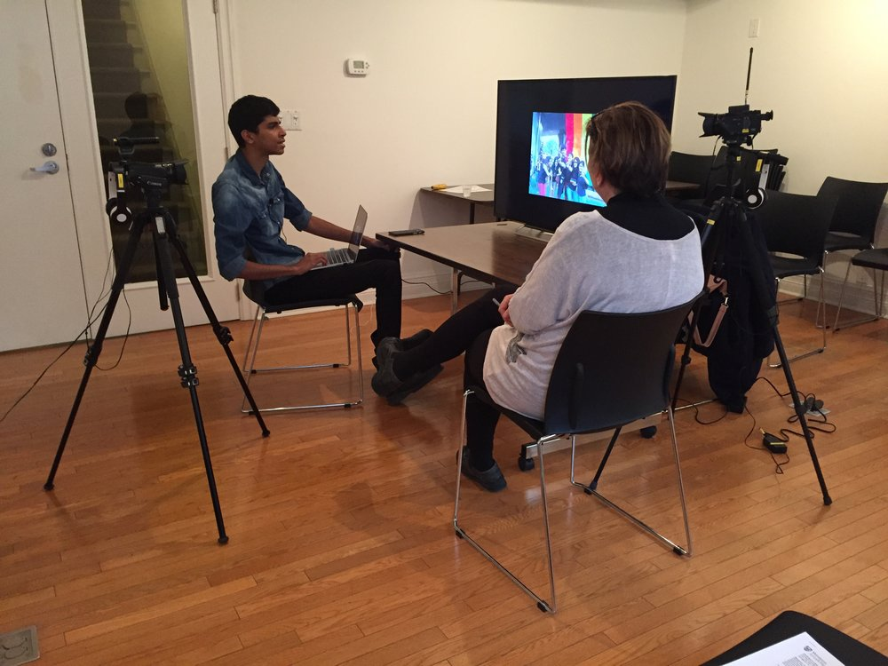 Mudit Ganguly in interview with Elspeth Brown at the CLGA (Photo: C. Barreto, 2017)
