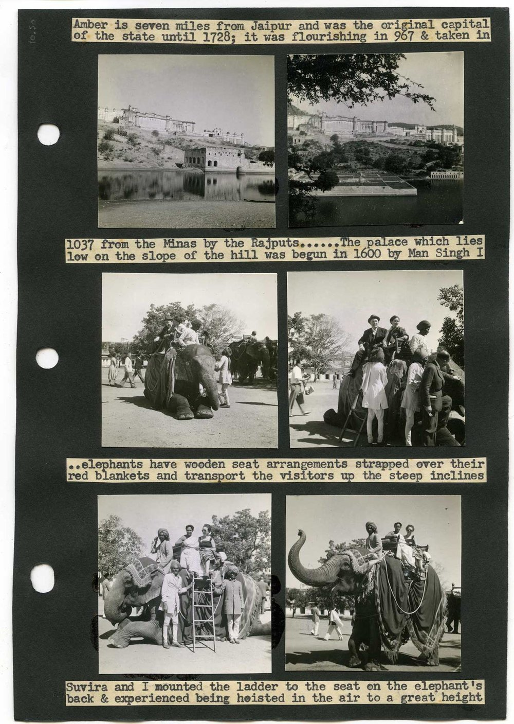 Margaret Corry, album-page showing elephant riding in Jaipur, India. From Margaret Corry's album of travels through Hyderabad, Ajanta, Dehra Dun, Madras, Delhi, Agra, Jaipur, Gaspe, Quebec, and Ontario. 1954. Gelatin silver prints and typed captions mounted on paper. Gift of Beverley Martin. Courtesy of The Family Camera Network and the ROM. 2017.34.10.26 (Photo: Courtesy of Brian Boyle MPA, FPPO photo, 2017 © ROM).