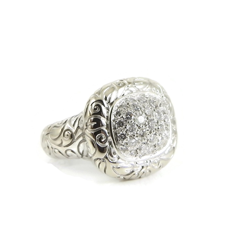 SeidenGang 18K White Gold  70tcw Pave Diamond Laurel Ring — Bella Tutto  Jewelry