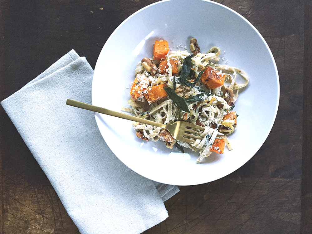 Butternut Squash Linguine with Chèvre + Crispy Fried Sage Leaves | All Purpose Flour Child