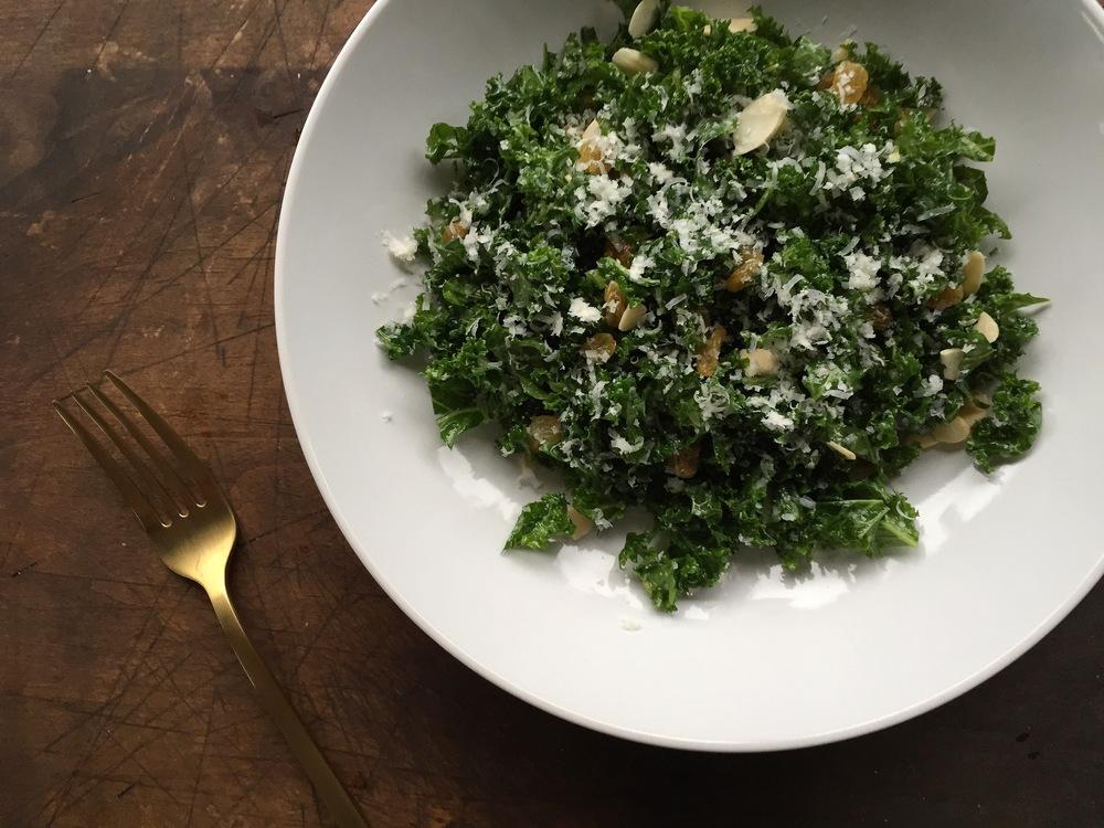Kale Salad with Golden Raisins + Pecorino Romano   All Purpose Flour Child