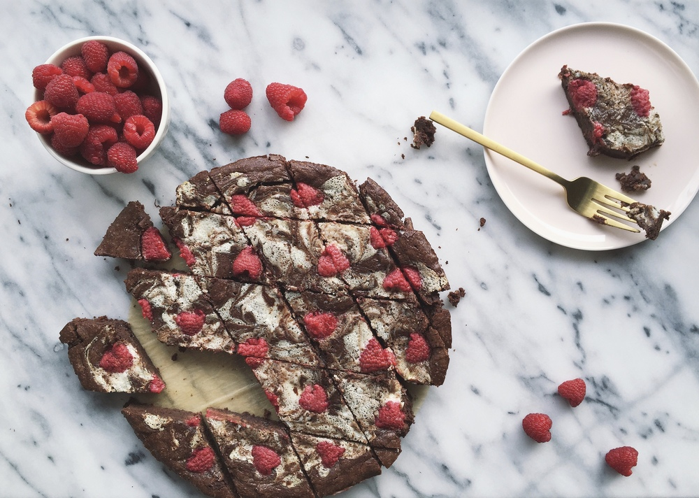 Raspberry Mascarpone Marbled Skillet Brownies | All Purpose Flour Child