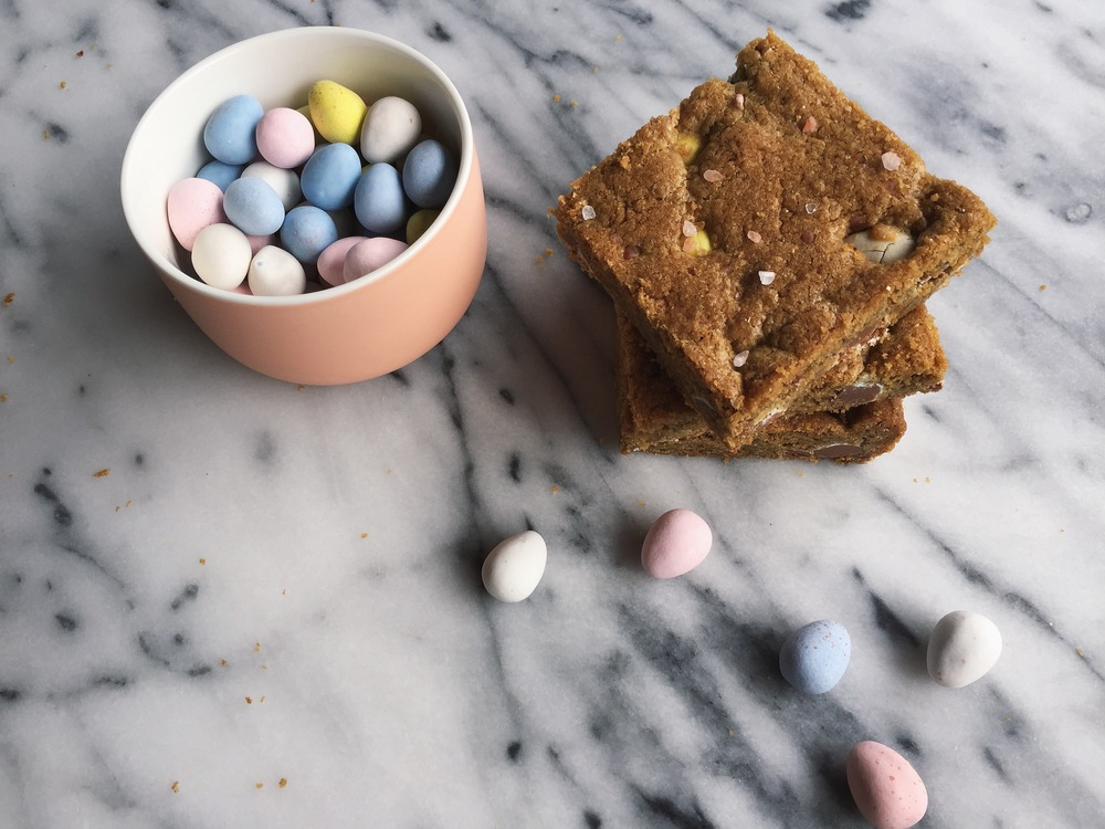 Brown Butter Blondies with Cadbury Eggs + Himalayan Pink Salt | All Purpose Flour Child