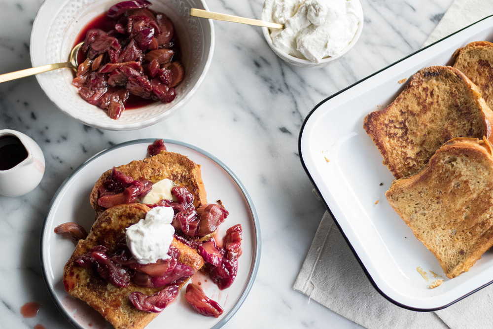Pain Perdu with Vanilla-Scented Rhubarb + Strawberry Compote | All Purpose Flour Child