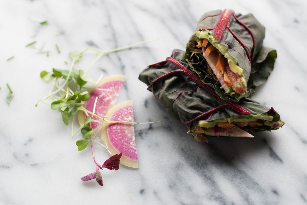 Swiss Chard Wraps + Herby Tahini Spread | All Purpose Flour Child