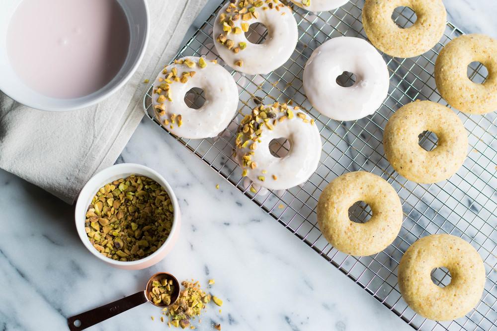 Pistachio Rose Baked Doughnuts | All Purpose Flour Child
