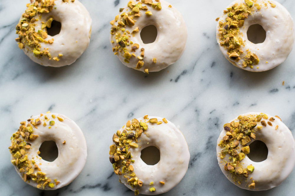 Pistachio Rose Baked Doughnuts | All Purpose Flour Child